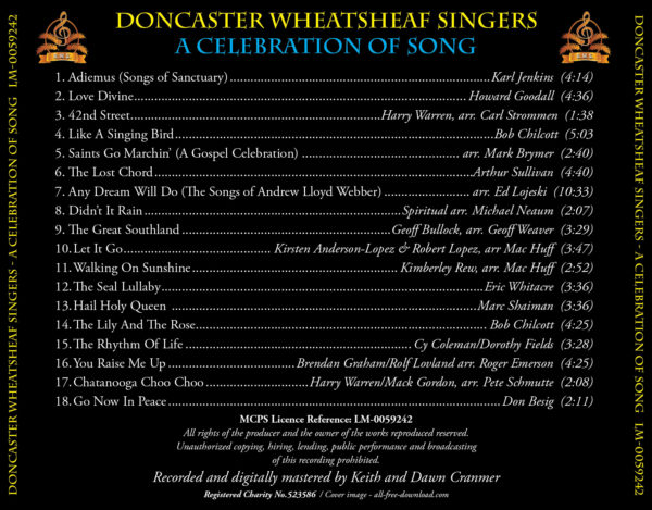 Track listing for the DWS CD A Celebration of Song